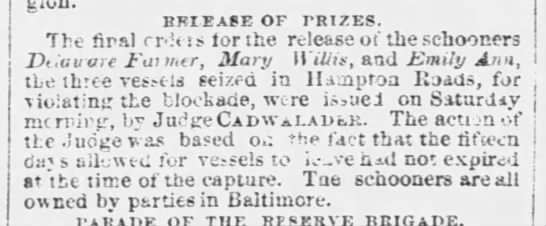 Release of Prizes, The Philadelphia Inquirer, May 27, 1861, page 2 -