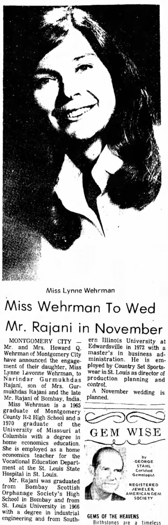 Miss Wehrman To Wed Mr. Rajani in November -