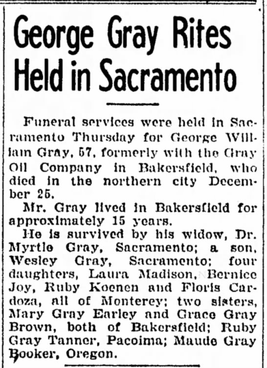 - George Gray Rites Held in Sacramento Funeral...