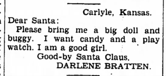 Darlene Bratten Letter to Santa - 18 December 1943 Iola Register -