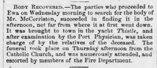 EDWARD MCCORRISTON: Body recovered, 1872 -