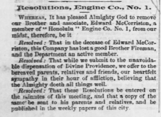 EDWARD MCCORRISTON: Resolution from Engine Co., No. 1, 1872 -