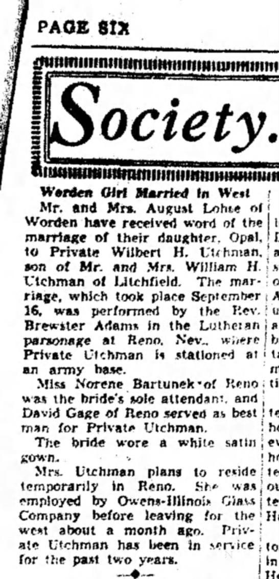 Lohse - Opal - marriage to Utchman - PAGE fit* ociety. Warden Girl Married In Weit i...