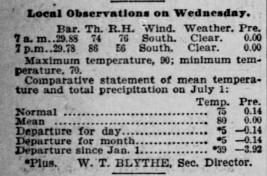 July 2, 1903 weather - Local Observation on Wednesday. Bar. Th. R H....