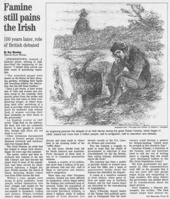 Famine still pains the Irish -