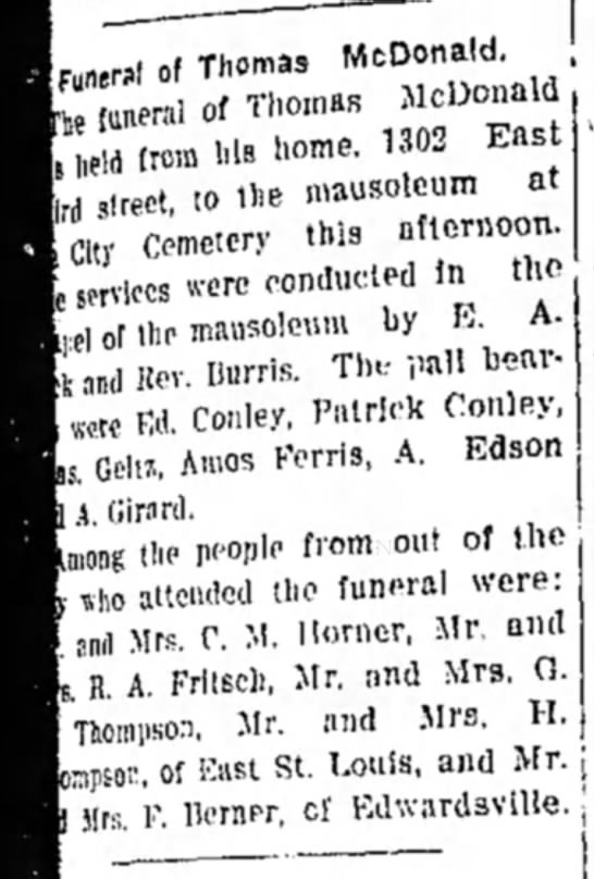 Thomas McDonald Funeral