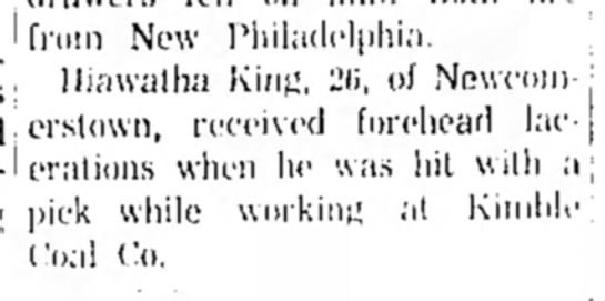 - ' from New Philadelphia. Hiawatha King, 2ii. of...