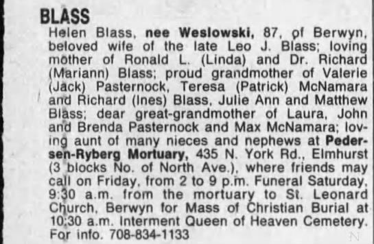 Obituary: Helen BLASS née Weslowski (Aged 87) -