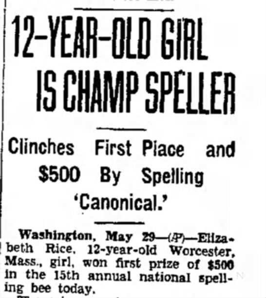 "Spelling Champ Wins with ""Canonical"" -"