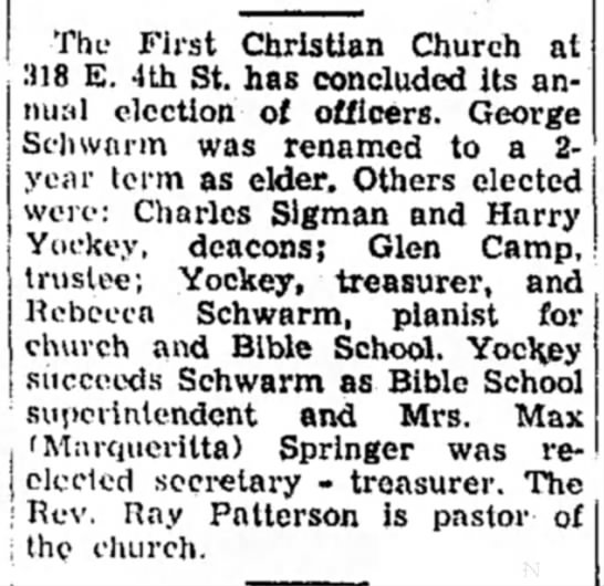 First Christian Church Election of Officers Glen Camp 14 Dec 1957 -