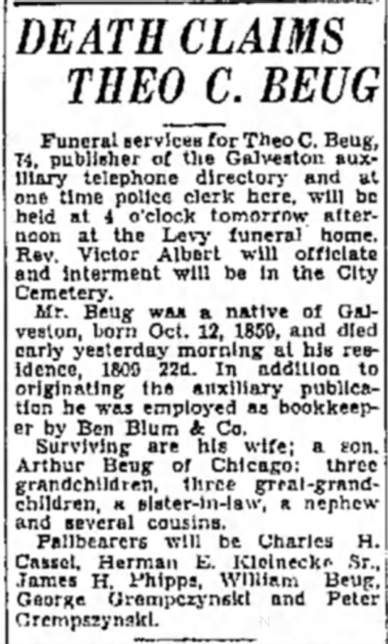 Death notice for Theodore C. Beug (b. 1859) -