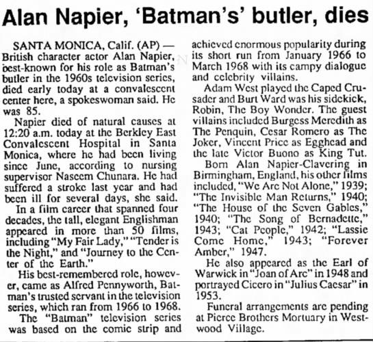 Alan Napier's obituary -