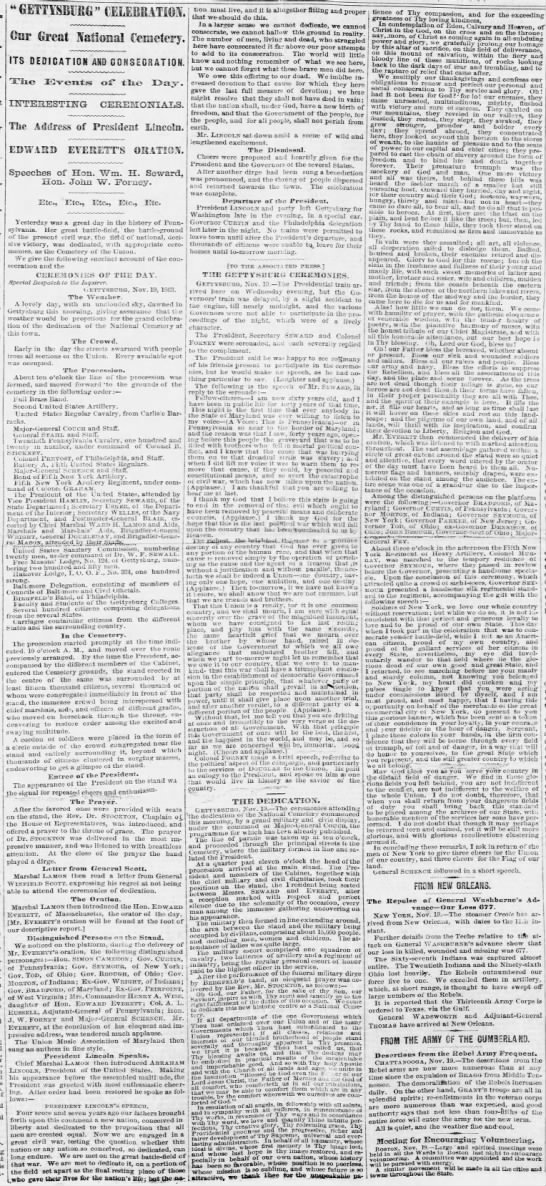 Account of Gettysburg Address and dedication as covered by a Pennsylvania newspaper -