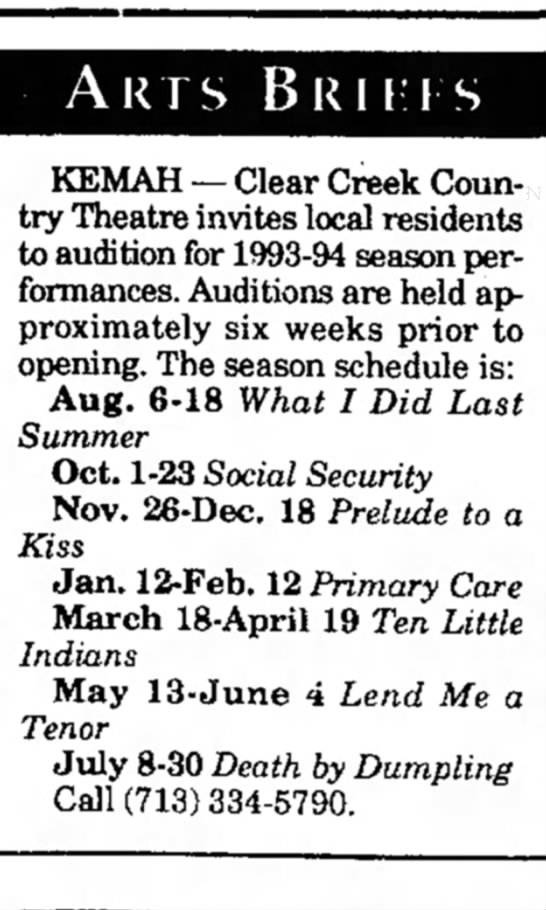 audition for 1993-94 season -