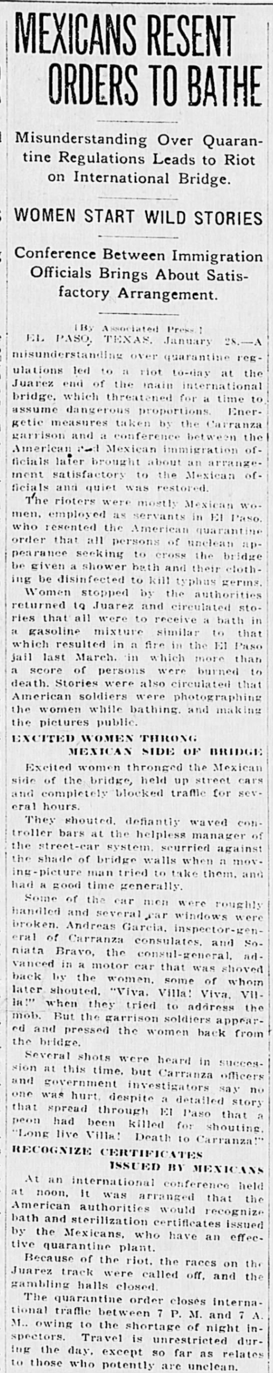 Mexicans Resent Orders to Bathe, The Times Dispatch (Richmond, Virginia) January 29, 1917, p 1 -