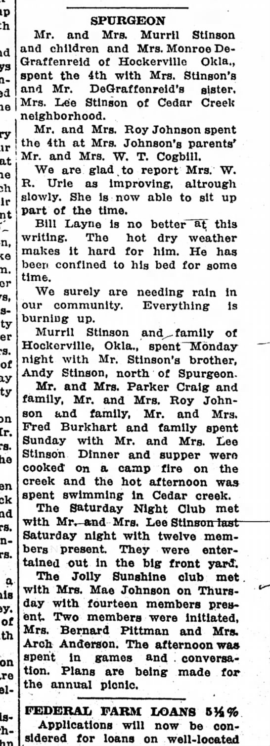 neosho times 6 jul 1933 lee stinson - SPURGEON Mr. and Mrs. Murril Stinson and...
