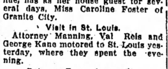 F Manning - avenue* hag as her house guest for eral days,...