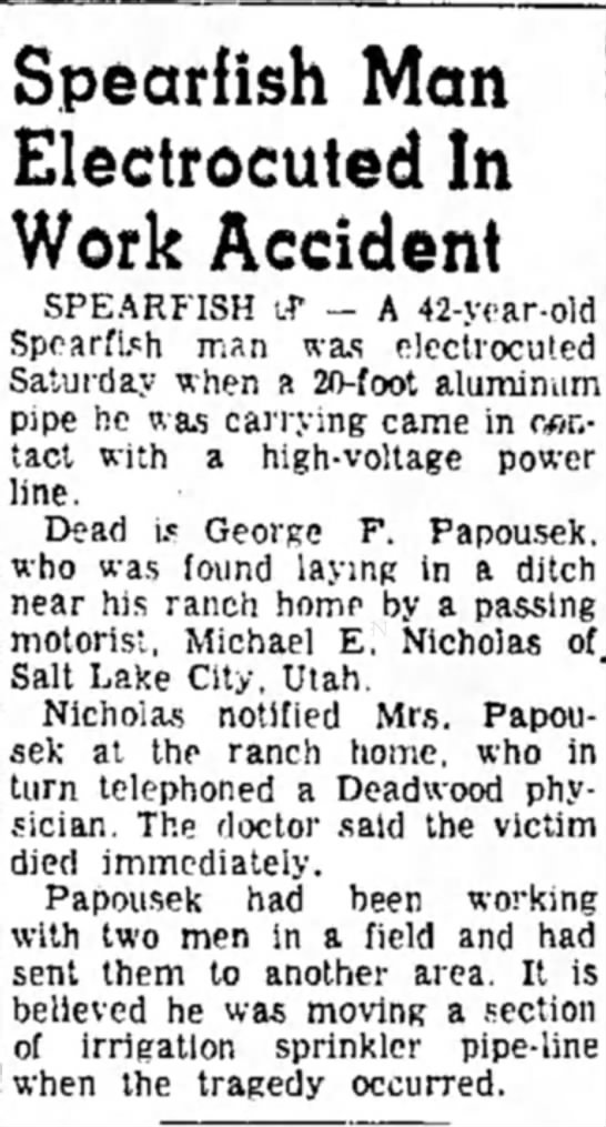 George F Papousek Daily Republic Mitchell SD 13 Aug 1962 electrocuted laying irrgation pipe -