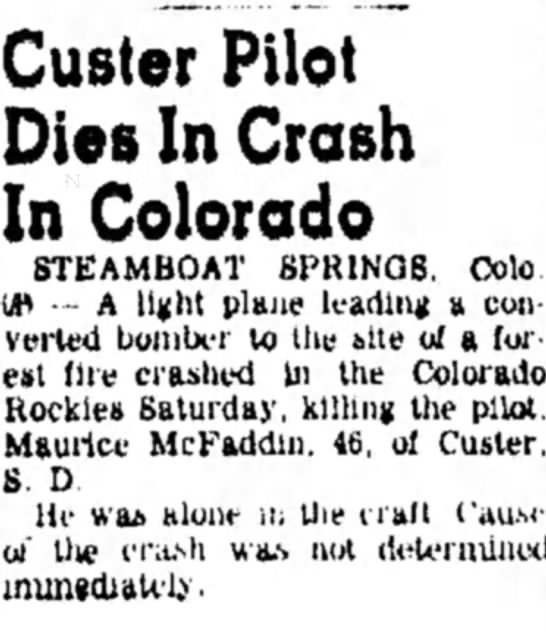 - Ouster Pilot Dies In Crosh In Colorado...