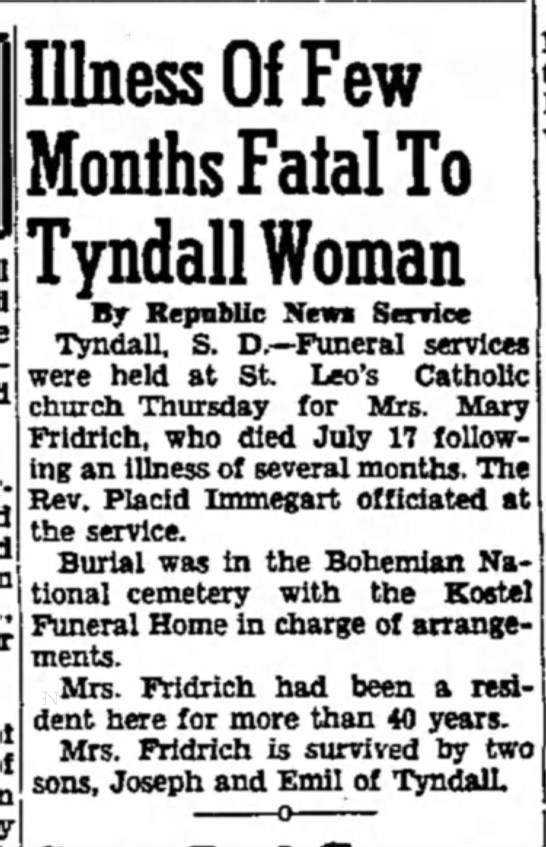 Mary Fridrich - 23 July 1951 - Daily Republic, Mitchell SD -