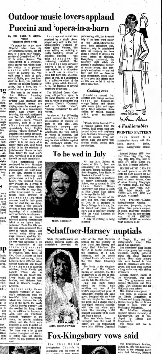 7 June 1971 Outdoor music...Puccini in a barn. Kay Shanahan -