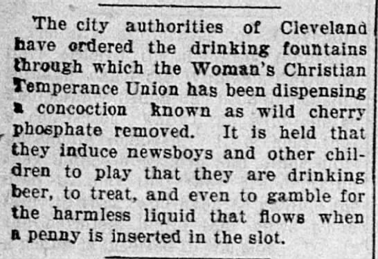 Cleveland orders removal of cherry phosphate drinking fountains, 1896 -