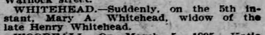 Mary Ann Whitehead Obituary - Philadelphia Inquirer - March 7, 1895 -