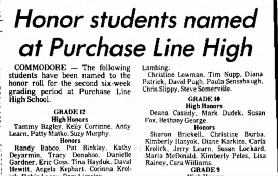 Tuesday, December 18, 1984 - Honor students named at Purchase Line High...