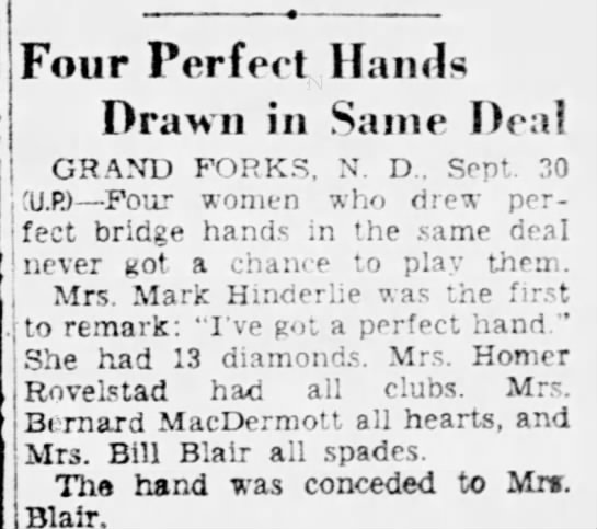 Mom-Perfect Bridge Hand Sept. 30, 1952 The News Journal-Willmington, Del. -