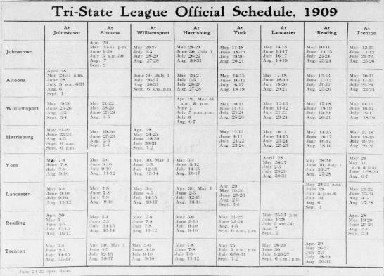 1909 Tri-State League schedule -