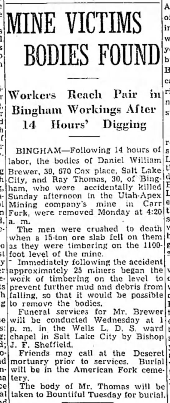 Mining accident that killed my G-Grandfather: Daniel William Brewer. -