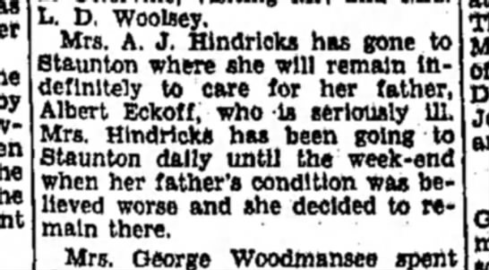 Feb 1933 Lena goes to stay at Staunton to care for dying Albert -