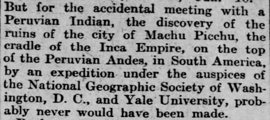 local Peruvian responsible for discovery - 10.-But for the accidental meeting with a...