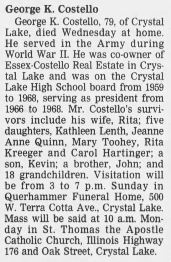 Obituary - George K. Costello George K. Costello, 79, of...