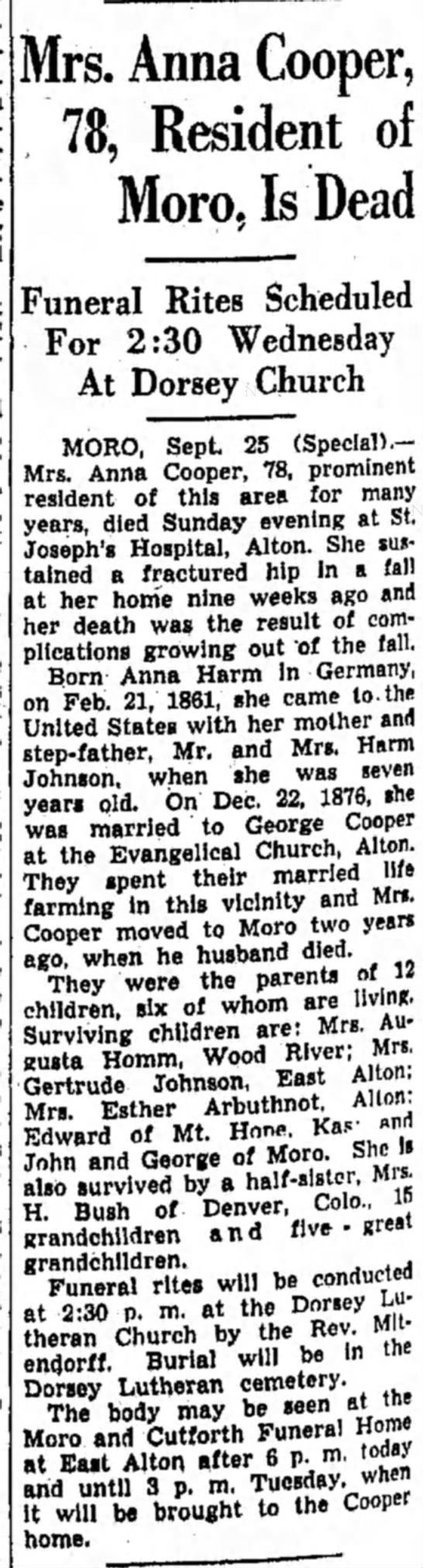 Cooper_Anna_Obit_1939 - Mrs. Anna Cooper, 78, Resident of Moro. Is Dead...