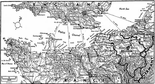 Map of the English Channel -