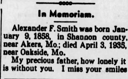 Alexander F Smith pt 1 - In Memories. Alexander F. Smith was born...