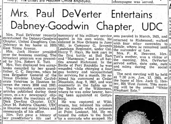 Article referring to 2 CCBeavens scrapbooks from TX Div UCV -