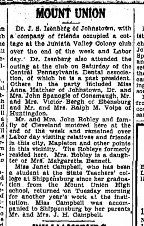 M/M John Robley-Altoona Mirror-p23-5 Sep 1930 - a MOtfNTONION Dr. J. S. IsftnBWg 6f...