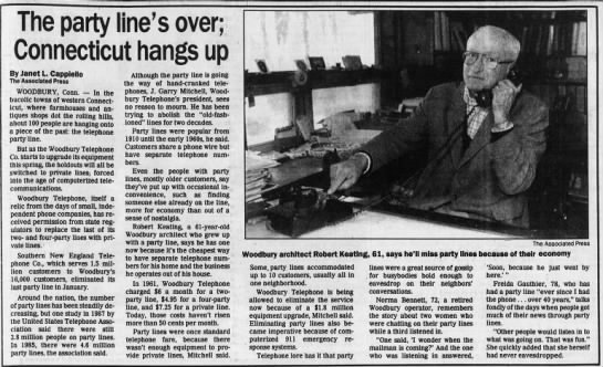Woodbury, Connecticut shuts down the last party line in 1991 -