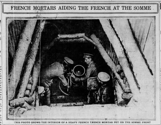 "Picture of the interior of ""a heavy French trench mortar pet on the Somme front"" -"