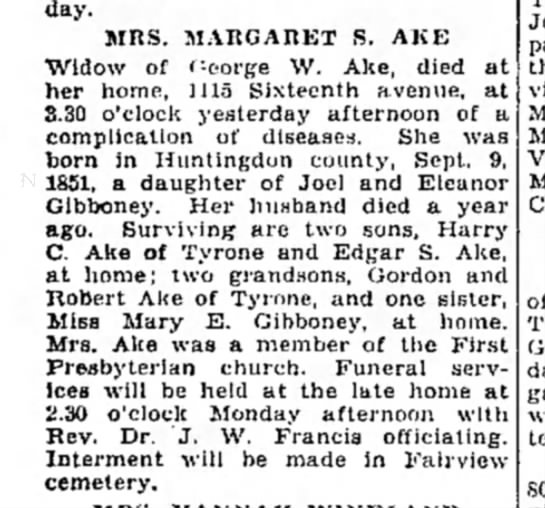 Obituary for Margaret Gibboney Ake, sister-in-law to Albert -