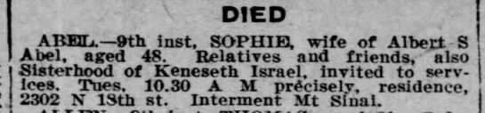 "Death notice using ""inst."" to indicate current month - DIED . ABEL 9th inst. SOPHIE, wife of Albept S..."