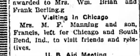 Mrs M F Manning and son Francis Manning - awarded to Mrs. Wm. Brian and Frank Berliug.g...