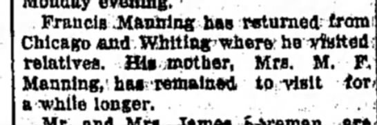 Mrs M F Manning and F Manning -
