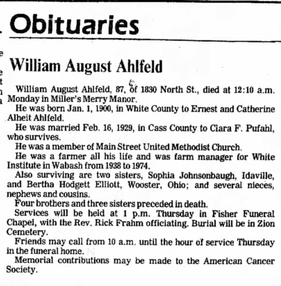 William A Ahlfeld Obit (Pufahl) -