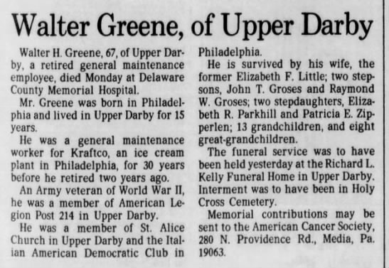 Philadelphia Inquirer August 21 1988 Walter Greene Of Upper Darby
