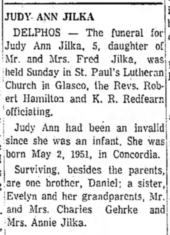 Judy Jilka obitSalina Journal 21 Jan 1957 -