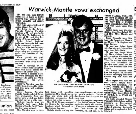 Jess Wedding - 25, 1970 Warvwck-Mcmf/e vows exchanged Bradshaw...