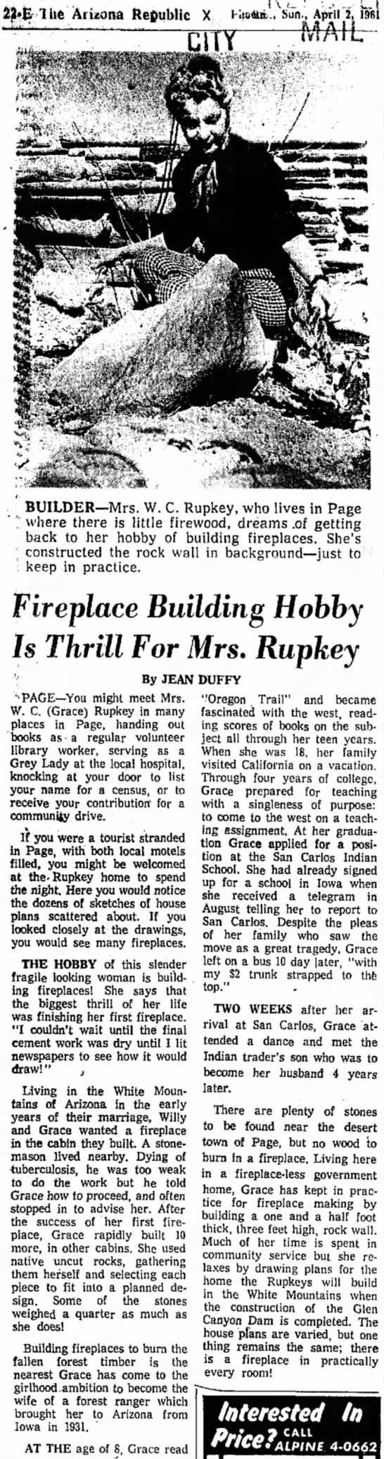 Willy WC & Grace Rupkey, Page Fireplace builder 4-2-61 -